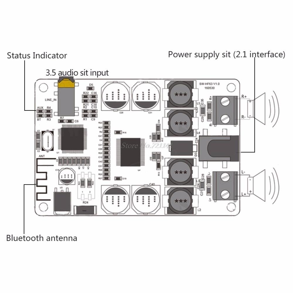 УНЧ 2*25 Вт TDA7492P + Bluetooth