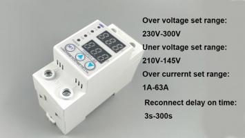 Устройство защиты по напряжению, току 230 В 60 А регулируемый с вольтметром, амперметром